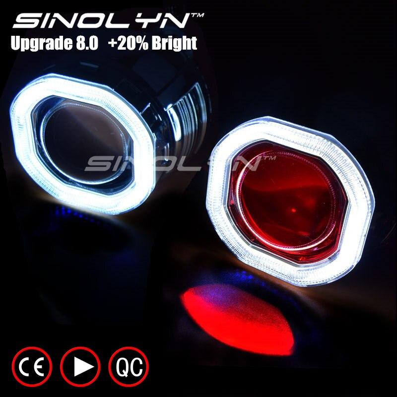 Sinolyn COB LED Ange Yeux Halo HID Objectif Du Projecteur Phare Bi-xénon Rénovation Kit Mise À Niveau De Voiture Mini 2.5'' 8.0 H1 H4 H7 Diable Oeil