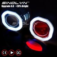Sinolyn COB LED Angel Eyes Halo HID Car Projector Lens Headlight Bi Xenon Retrofit Kit Upgrade