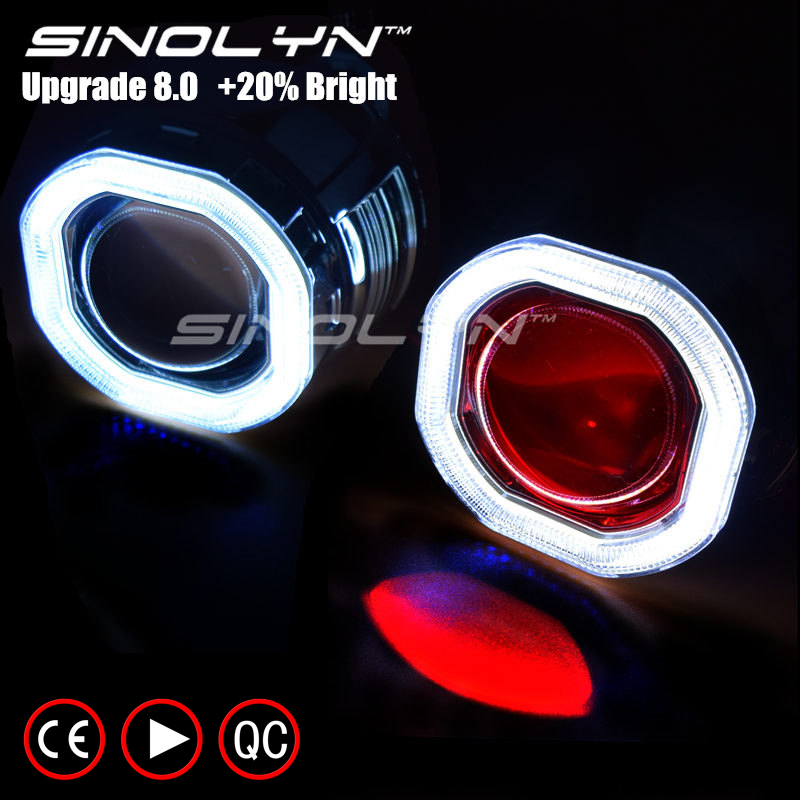 Sinolyn COB LED Angel Eyes Halo HID Car Projector Lens Headlight Bi-xenon Retrofit Kit Upgrade Mini 2.5'' 8.0 H1 H4 H7 Devil Eye royalin car styling hid h1 bi xenon headlight projector lens 3 0 inch full metal w 360 devil eyes red blue for h4 h7 auto light