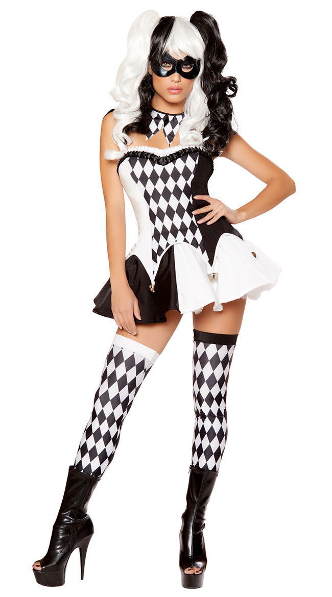 Women White Black Plaid Sexy Naughty Harley Quinn Costume Halloween Movie Batman Bad Guy Joker Clown Cosplay Outfit-In Movie  Tv Costumes From -4688