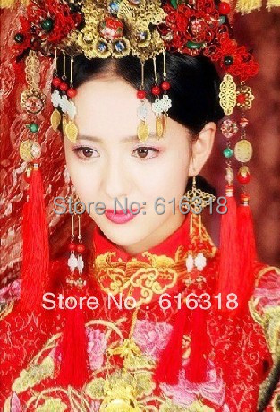Vintage Chinese Traditional Wedding Jewelry Adorn Hair Accessories Queen Hanfu Fine Pageant Coronet Tiaras Set Free Shipping 03 red gold bride wedding hair tiaras ancient chinese empress hat bride hair piece