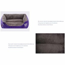 Solid Color Pet Dog Bed Soft PP Cotton Filled Puppy Cat Sofa Bed Warm Pet Cushion Rectangle Cat Dog Mat Waterproof Pets House