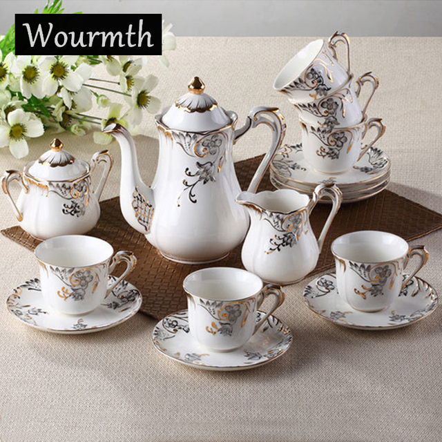 Wourmth 15 Pcs Bone China Coffee Tea Set Flower Designs Cup And Saucer 1