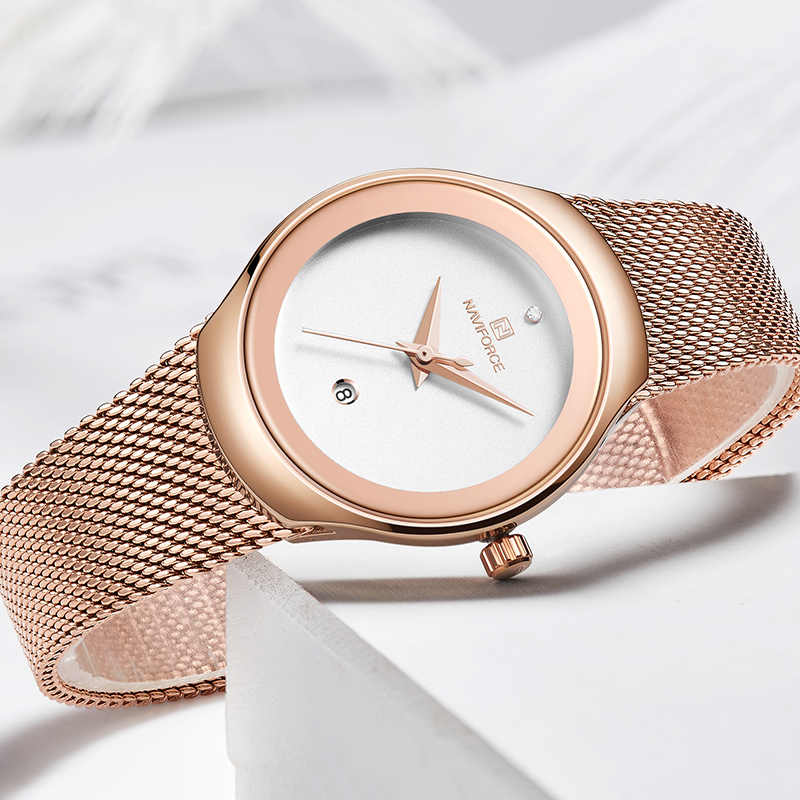 NAVIFORCE שעון נשים אופנה שמלת קוורץ שעונים ליידי נירוסטה עמיד למים שעוני יד פשוט ילדה שעון Relogio Feminino