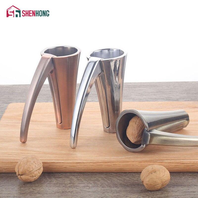 SHENHONG Zinc Alloy Pecan Nut Cracker Walnut Nutcracker Pine Cascanueces Sheller Funnel Frosted Grips Pliers Clamp Kitchen Tool