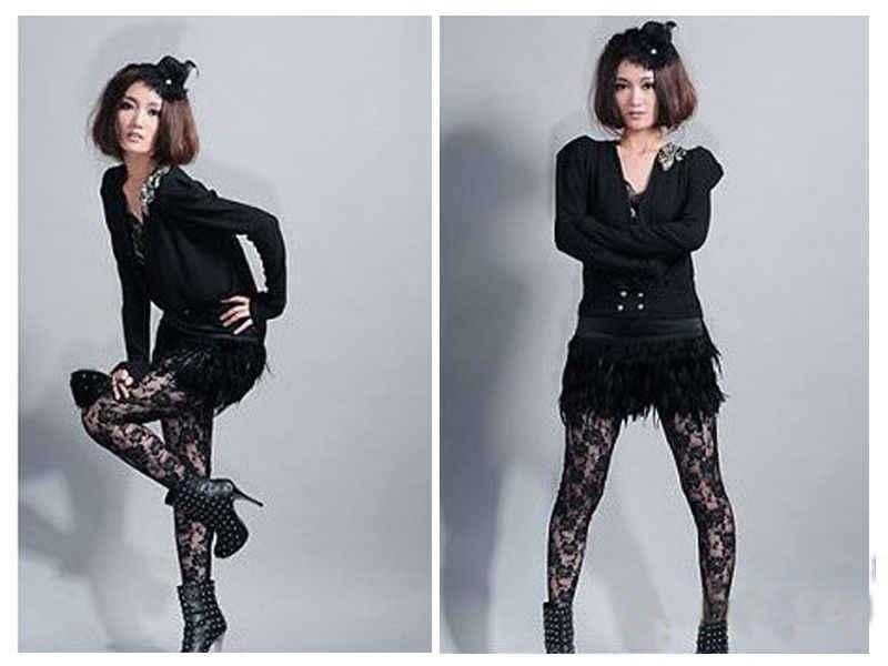 8f220c0a10bea ... New Fashion Women's Black White Lace Wet Look Metallic Costume Clubwear  Tight Pants One ...