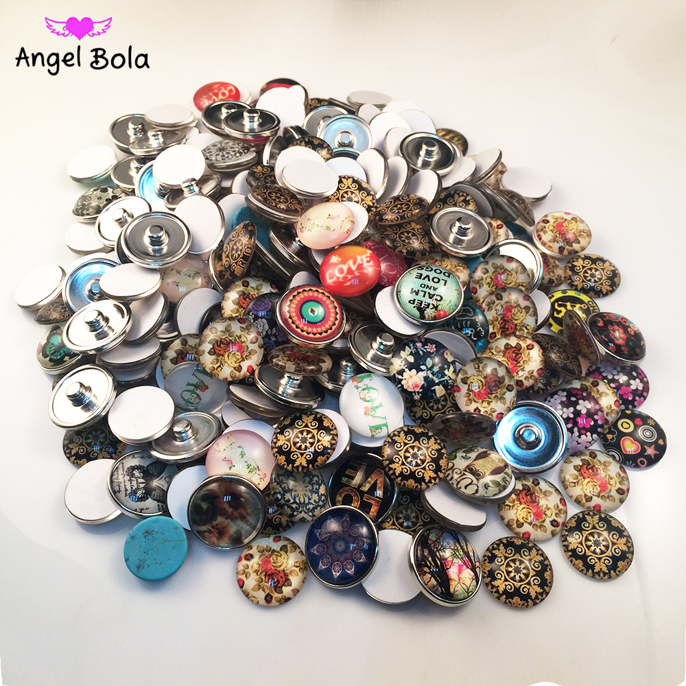 10PCS/LOT Mix Designs Snap Button 18MM Round Glass Ginger Snaps Jewelry Snap Charm Fit Snap Button Bracelet NS0106-1 image