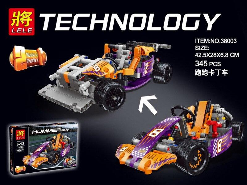 345Pcs LELE 38003 Technic City Series 2-in-1 Race Kart Car Figure Blocks Compatible Legoe Building Bricks Toys For Children