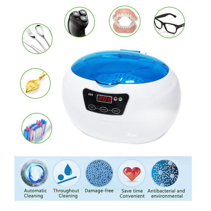 600ML Household Ultrasonic Cleaner Jewelry Glasses Cleaning Machine for Home Kitchen Fruit Vegetable Washer Cleaning household glasses jewelry watches denturesmobilephone motherboard ultrasonic cleaning machine
