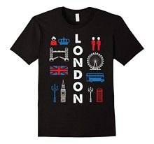 2019 round neck T-shirt mens summer mens short T-shirt London England UK T shirt Big Ben Flag Bus Crown Phone Box(China)