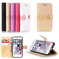 Luxury Magnetic PU Leather Stand Wallet Phone Case Rose Flower Printing Flip Cover For iPhone 5 5S SE 6 6S 7 Plus Coque Fundas