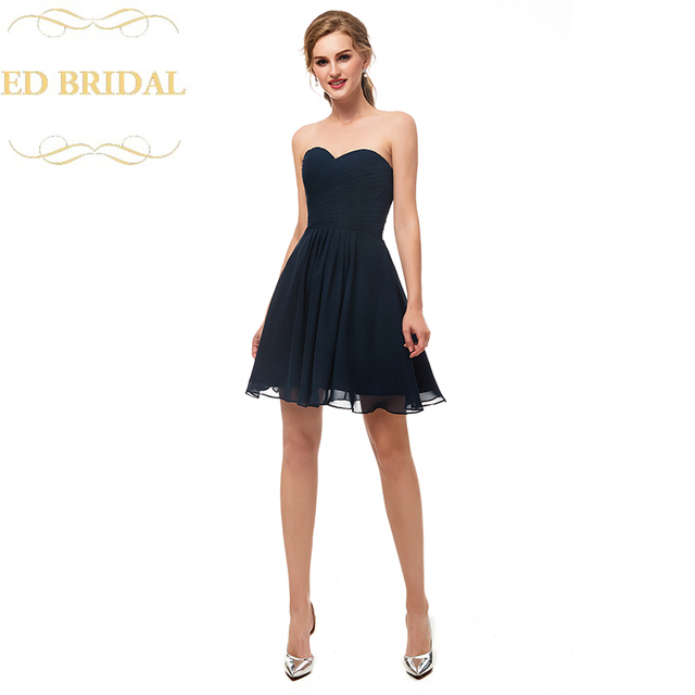 Us 80 0 A Line Sweetheart Navy Blue Chiffon Short Bridesmaid Dress Wedding Party Gown Maid Of Honor In Bridesmaid Dresses From Weddings Events On