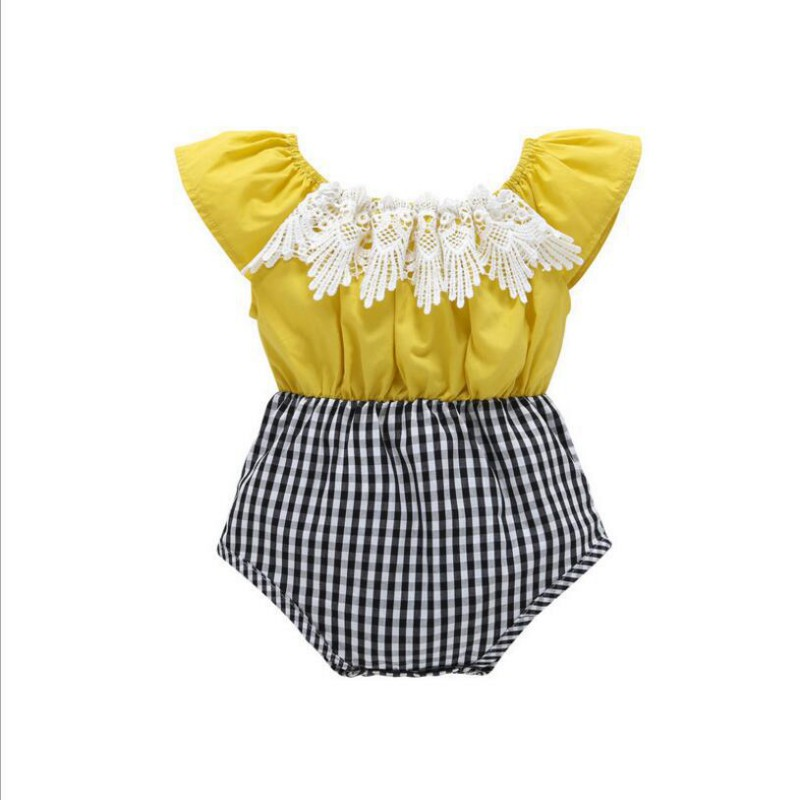 New Summer Top Quality Lace Patchwork Plaid Baby Girls Shoulder Short Sleeve Cotton Rompers Newborn Girls Roupas de bebe Clothes