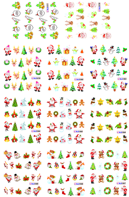 on sale !! 1lot  by 10 papers 11  New Style Nail Art Water Sticker Christmas gift   in 2016 for BLE1577-1587,