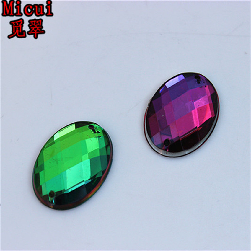 Micui 30pcs 18*25mm Rainbow Color Oval Acrylic crystal Rhinestones Beads For Sewing Wedding Bags Stones Accessores Sew on ZZ373C