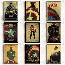 Марвел фильм Капитан Америка винтажные Плакаты для домашнего декора крафт-бумага высокого качества плакат стикер на стену