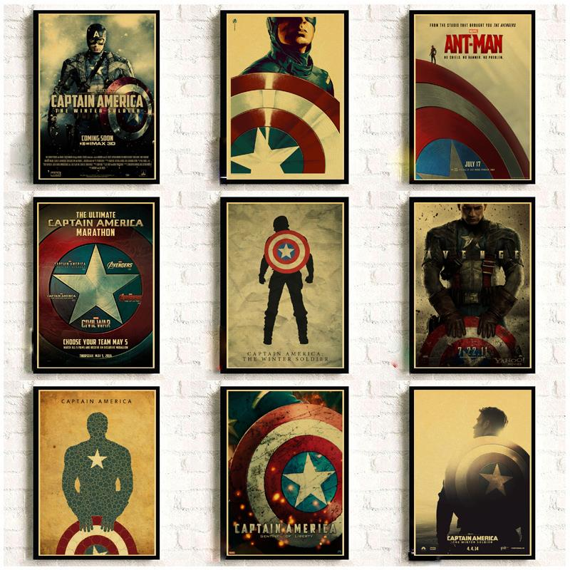 Marvel Movie Captain America Vintage Posters For Home Decor Kraft Paper High Quality Poster Wall Sticker