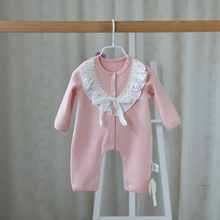 Fashion Spring Autumn New Cute Lace Pattern Baby Rompers Baby Girls Long Jumpsuit Comfortable Cotton Crawling Coverall Clothing