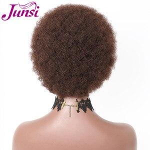 Image 4 - شعر مستعار قصير أفريقي من JUNSI للنساء شعر مستعار مموج للنساء (اللون: بني)