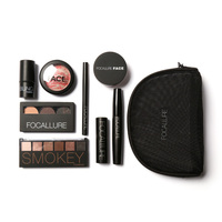FOCALLURE Eyeshadow Eyebrow Eyeliner Face Powder 8 PCS Make Up Set Matte Shimmer Painting Skin Professional