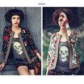 Marca de moda Senhorita Europa 2016 Nova Moda Impresso Casaco cardigan mulheres Jaqueta Quimono roupas de Algodão flor casaco Outerwear
