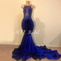 Gorgeous Royal Blue Velvet Mermaid Arabic Evening Dress Sweep Train 2019 Backless Spaghetti Strain Illusion Sexy Prom Party Gown