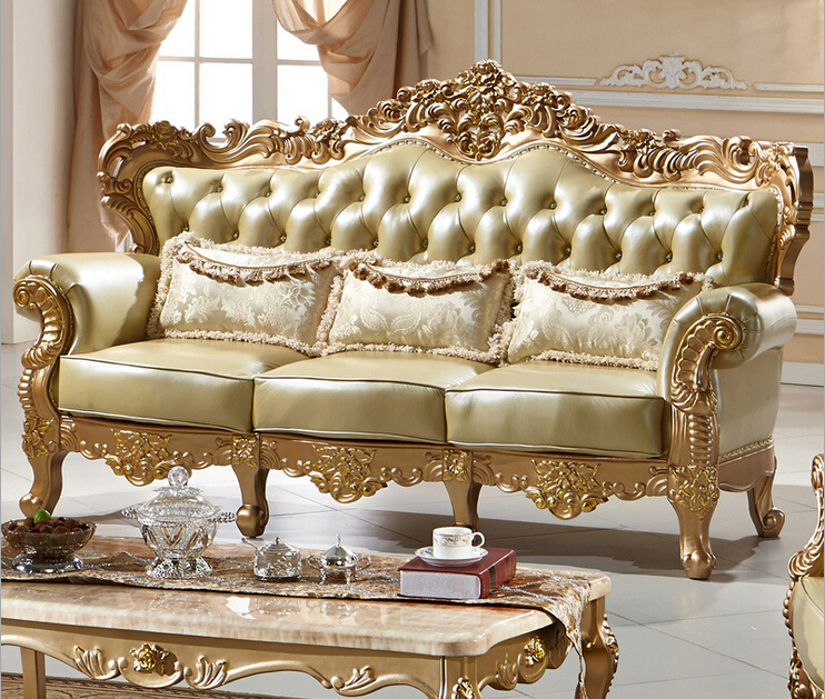 Classic European Hand Carved Sofa Set Furniture Solid Wood Carving
