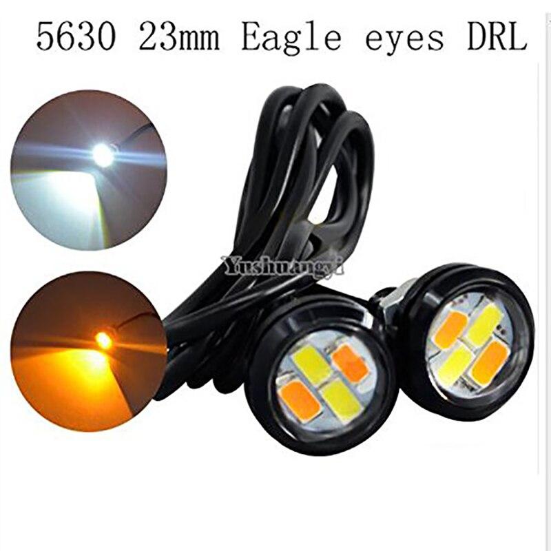 2Pcs/Pair 23mm White/Amber 5630 4smd <font><b>LED</b></font> DRL <font><b>Eagle</b></font> <font><b>Eye</b></font> Daytime Runing Lights Warning Fog Lights With Turning Signal Light