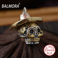 BALMORA Vintage Pendants For Necklaces 100 Real 925 Sterling Silver Jewelry Unique Skull Hat Pendant Men