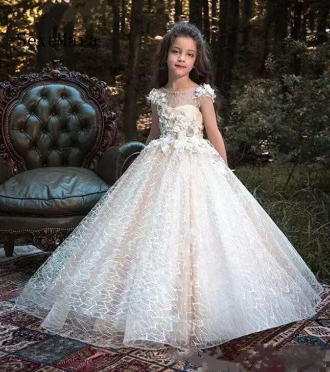 Princess Flower Girl Dresses Lace 3D Flowers Beads Floor Length Ball Gowns Pageant Formal Dress Girls Birthday Party Dress floor length plus size lace formal dress