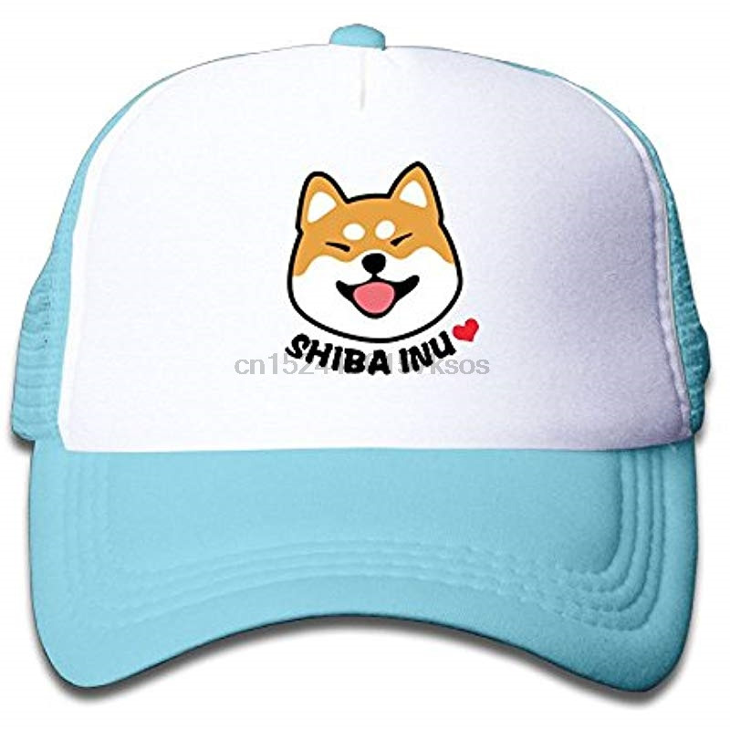 2019 New Style Anime Doge Shiba Expression Mesh Hat Adjustable Double Row Buckle Black Men Dog Novelty Snapback Baseball Hats Funny Printing Men's Baseball Caps
