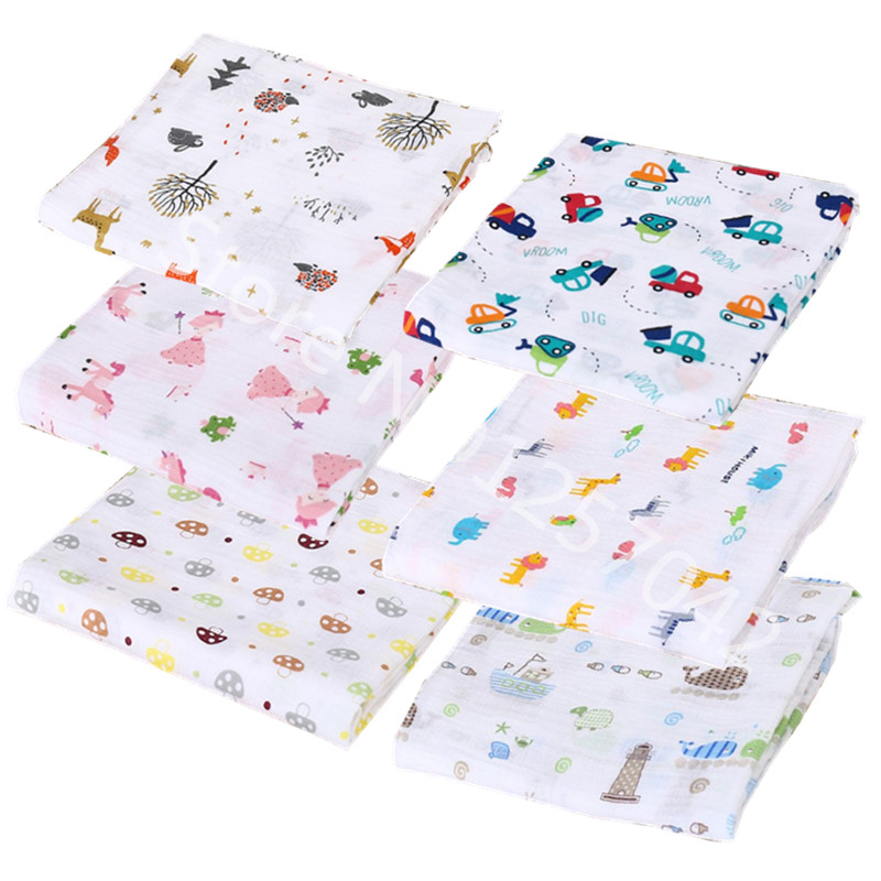 1Pc Muslin 100% Cotton Baby Swaddles Soft Newborn Blankets Bath Towels Gauze Infant Wrap sleepsack Stroller Cover Play Mat 1 piece baby bath towels 100