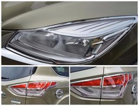 For Ford Kuga Escape 2013 2014 2016 ABS Chrome Front Rear Headlight Lamp Cover Trim Taillight Lamp Trims Car Styling Cover Trim