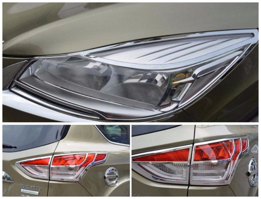 Rear Tail Brake Light Lamp Cover Trim Chrome ABS For Ford Escape Kuga 2013-2016