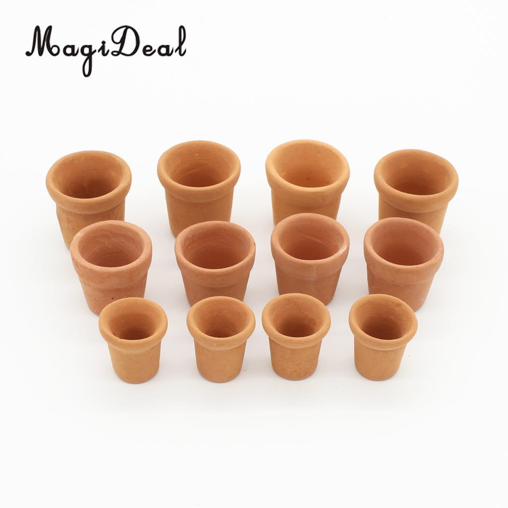 MagiDeal 12 шт./упак. фарфор 1/12 масштаб кукольная миниатюры вазоны для куклы садовый домик украшение помещения мебель игрушка