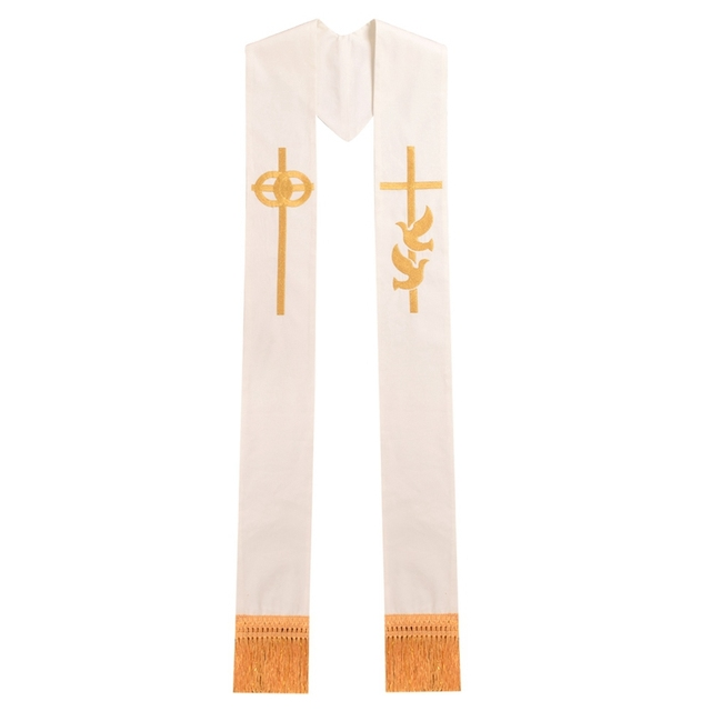 Gold Cross w Wedding Rings Rmbroidered Holy Dove Minister Clergy Stole
