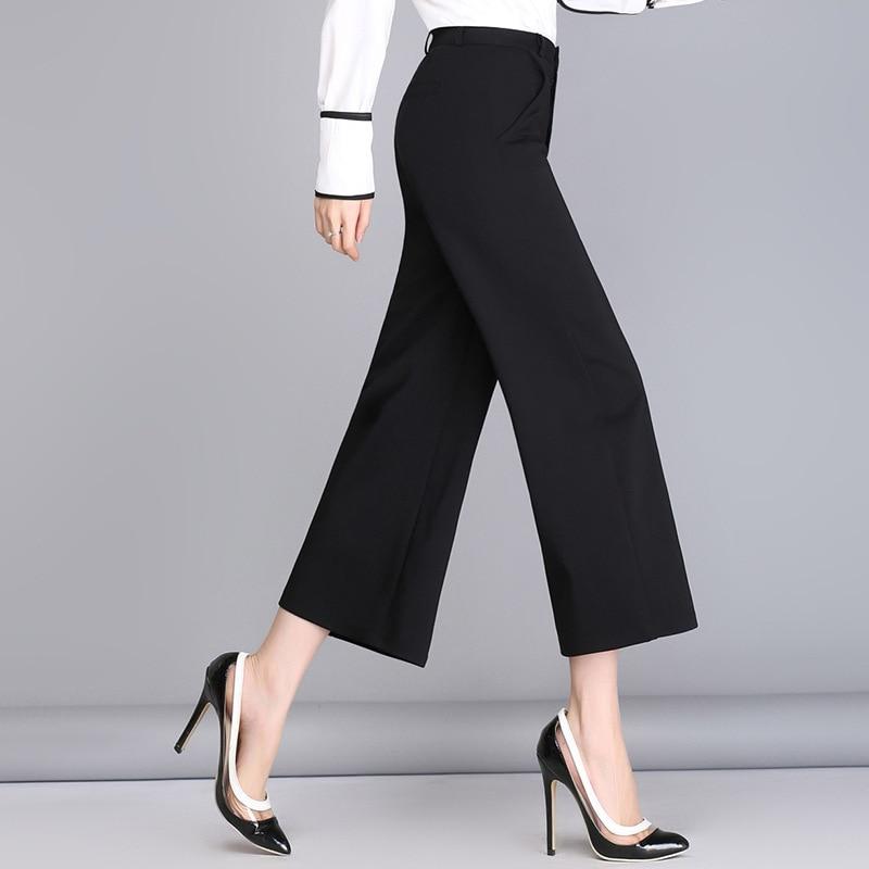 Summer Style Women   Pants     Capris   Woman Solid Color Mid Flat Wide Leg   Pants   Office Uniform Ankle-Length   Pants   5 Size Fashion