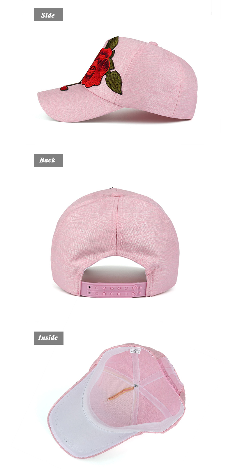 Large Flower Embroidered Snapback Cap - Side, Rear and Inside Views