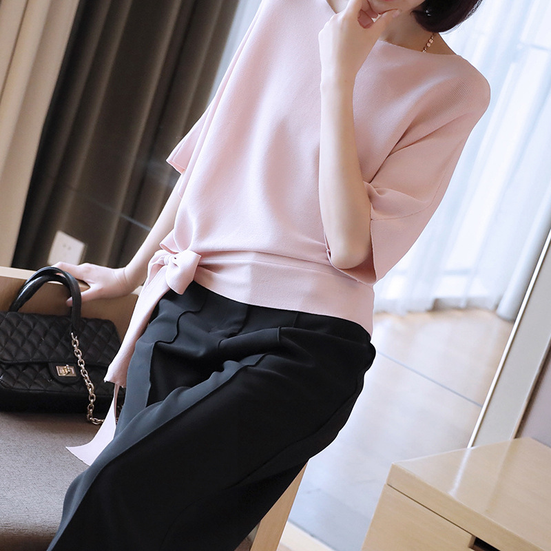 Coréenne Glace Soyeux Taille à lacets Chandail Tricoté Femmes de Nouveau D'été 2019 Mince À Manches Courtes Pull Lâche O-cou Rose Chandails