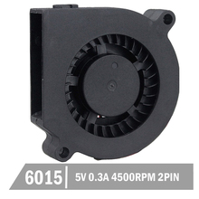 2 Pcs Gdstime 60mm 6015S 5V Black Brushless DC Cooling Blower Fan 50 pcs brushless dc cooling blower fan 7525s 12v 75x25mm 2 wires