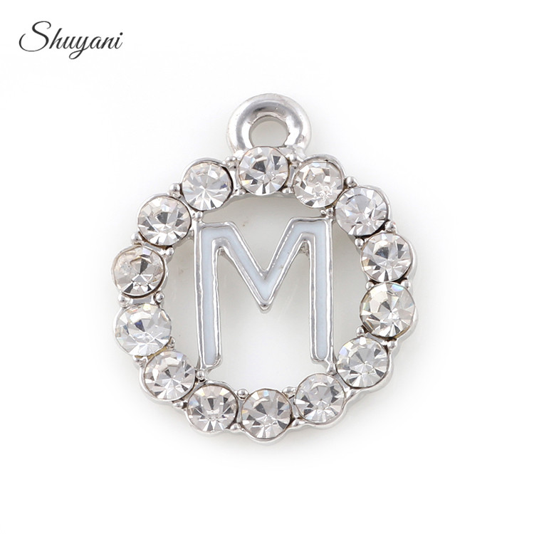 235f1c1de0b1 20PCS Fashion Full Crystal Circle Charms with Silver Gold Alphabet M Charms  Pendants fit Bracelet Necklace Accessories 19 16mm