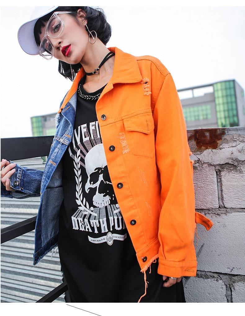 2019 New Design Holes Short Jacket Coat Women High Street Color Block Spliced Coat Street Wear