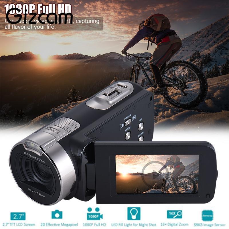 2018 nouveau Gizcam 20 M 1080 P Full HD caméra vidéo numérique Portable caméra vidéo usage domestique Mini DV avec écran LCD rotatif 2.7 'TFT