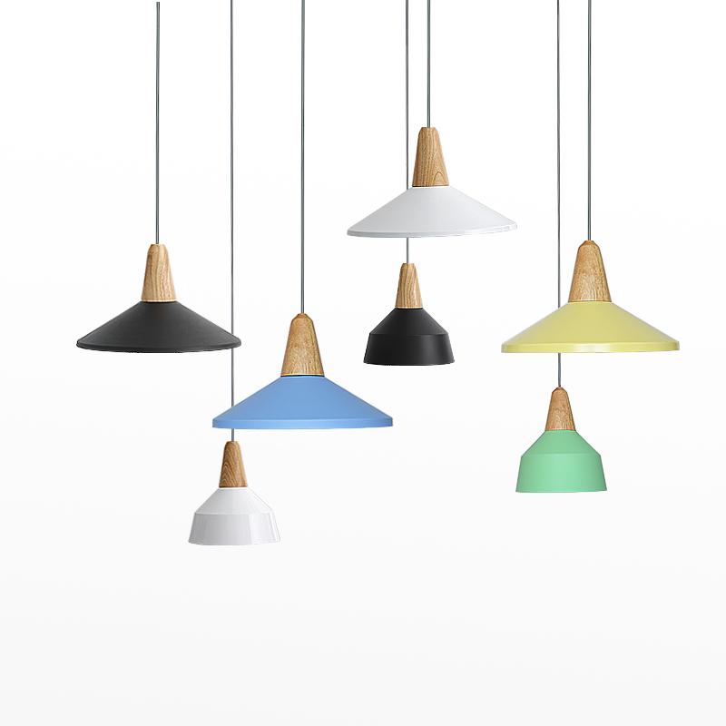 Modern simple LED pendant light Creative personality decoration lighting Foyer bedroom metal wood macarons post modern lighting