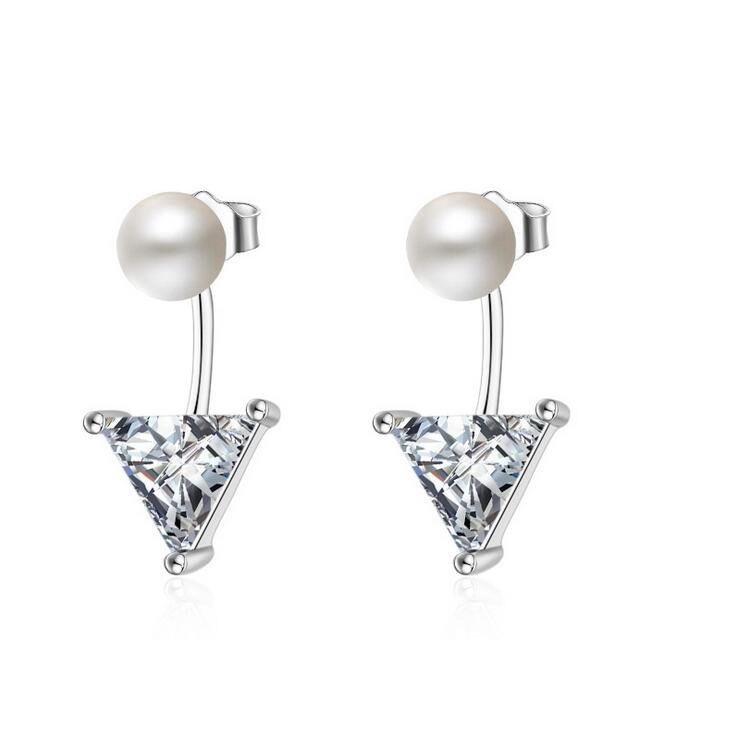 Silver earrings hot sell fashion Triangle crystal Imitation pearl 925 sterling silver ladies`stud jewelry women gift