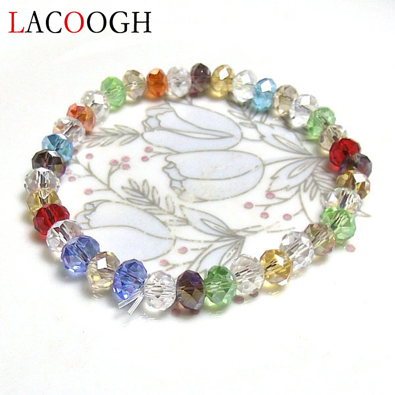 lacoogh 2017 New Trendy 3Pcs/Lot beads Bracelets for Men/Women Colorful Elastic Faceted Glass Beads Strand Bracelet Bangles