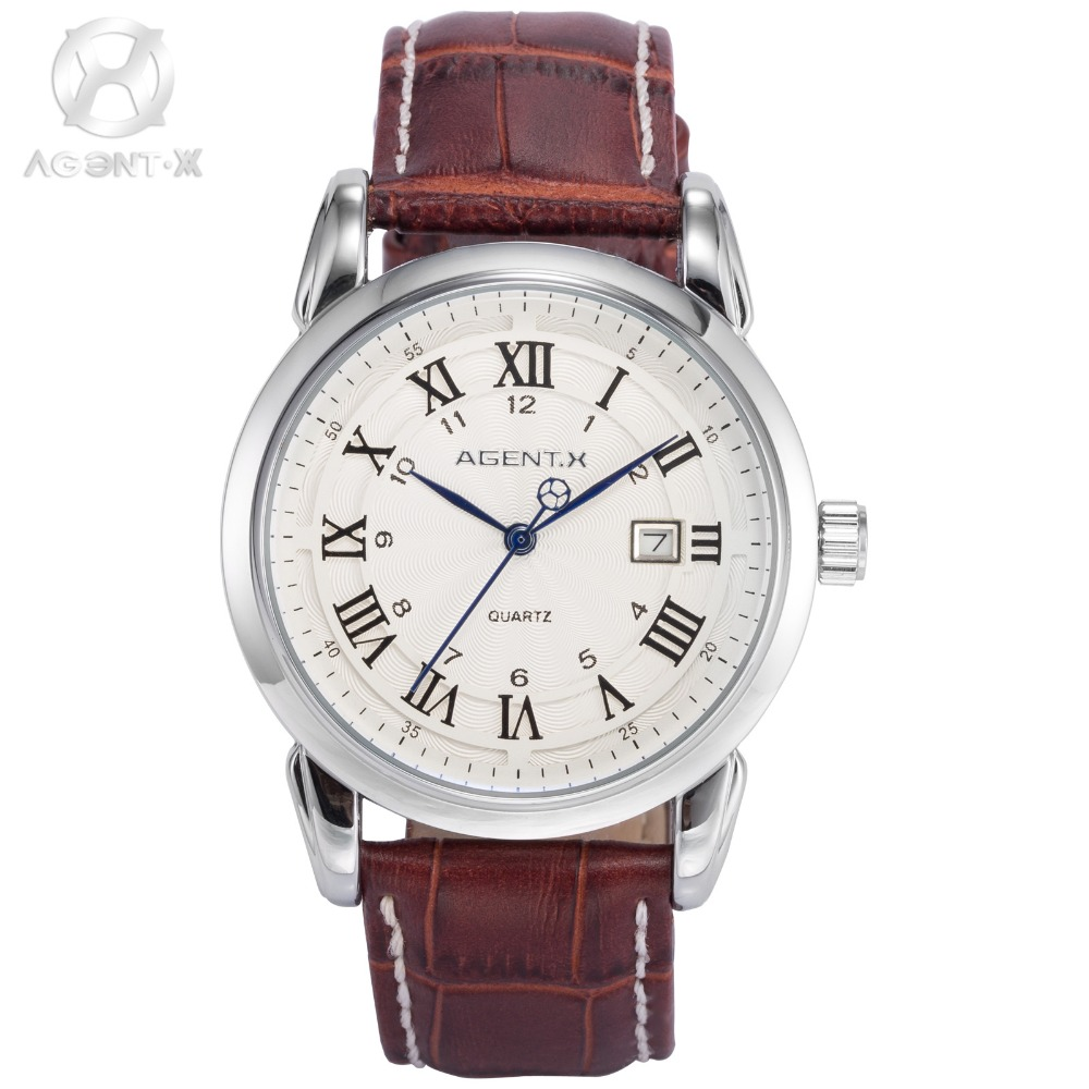 AGENTX New Casual Vintage Silver Case Clock White Dial Brown Leather Strap Date Display Men Quartz Business Wrist Watch / AGX133 mike 8825 men s business casual analog quartz wrist watch silver white