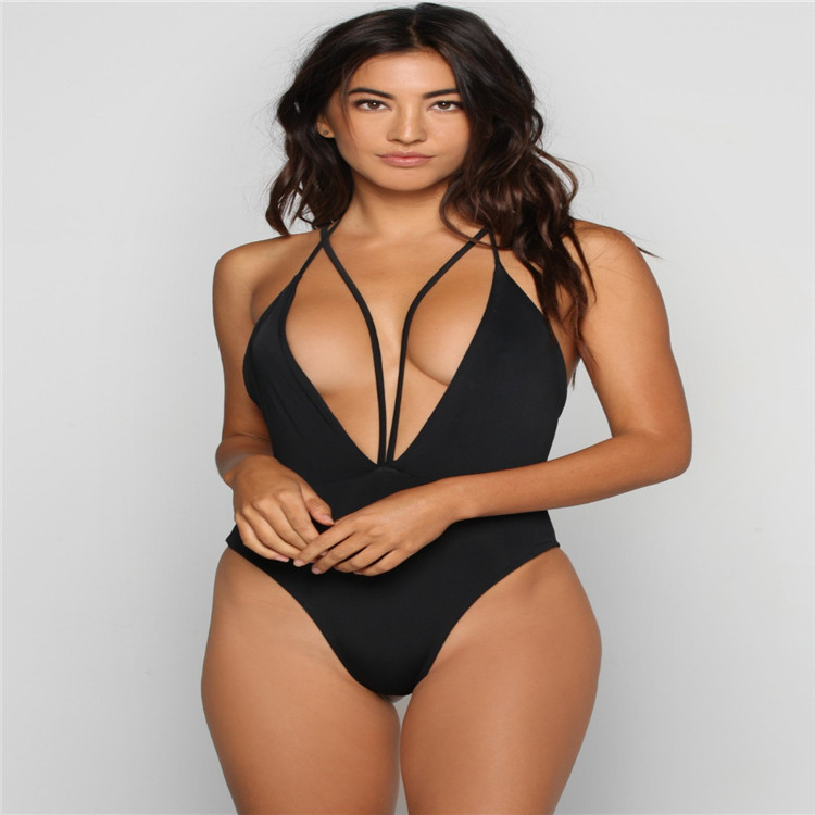 Sexy Women One-piece deep V-neck Monokini Onepiece Swimsuit Ladies Solid Swimwear Swimsuits Bikini Bathing Suit