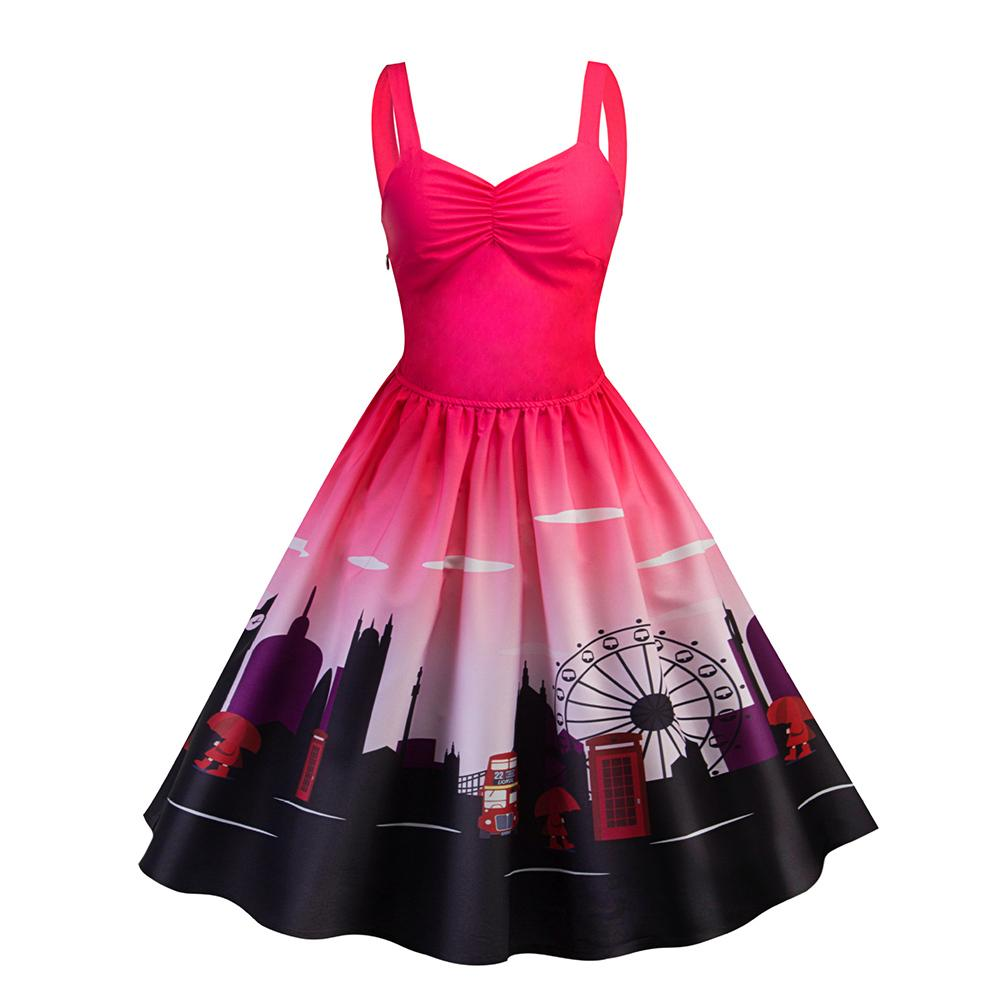 Hot Sale Women Dress Hepburn Style Vintage Strap V-neck Print Sleeveless Dress Flare Christmas Dress Female