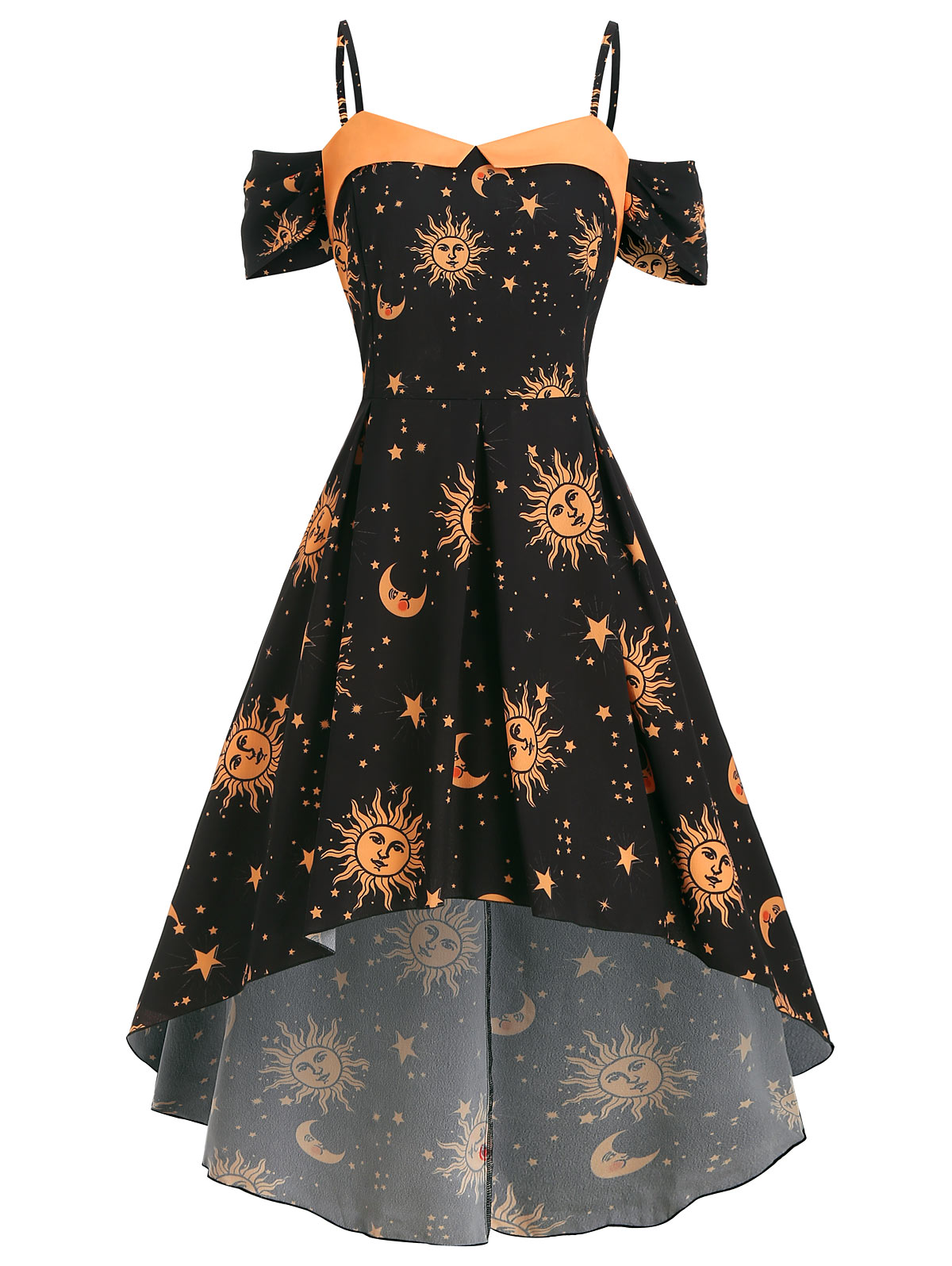 Plus Size Summer Strap Dress Star Sun Moon Print Sexy Open Shoulder Maxi Dress Women Vacation High Low Evening Party Dresses in Dresses from Women 39 s Clothing